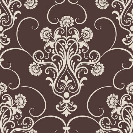 foliate: Vector damask seamless pattern element. Elegant luxury texture for wallpapers, backgrounds and page fill.