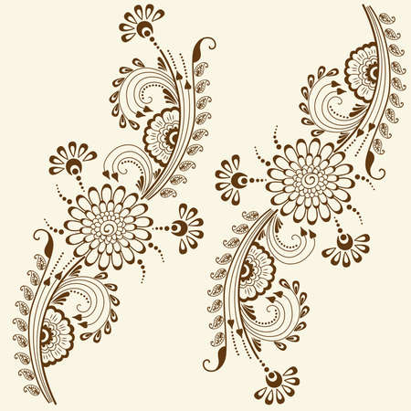 Vector abstract floral elements in indian mehndi style