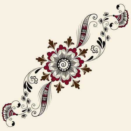 mehndi: Vector abstract floral elements in indian mehndi style