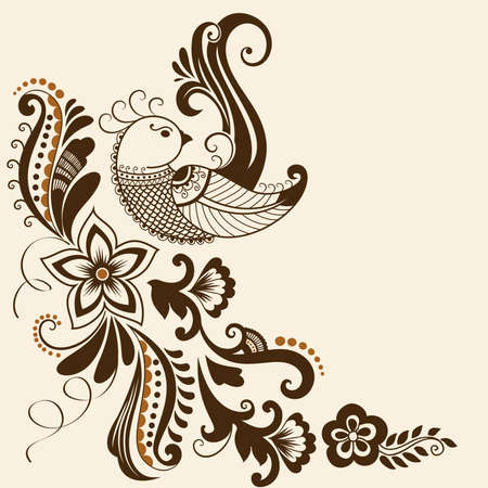 hindi: Vector abstract floral elements in indian mehndi style