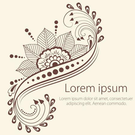 hindi: Vector astratto elementi floreali in stile indiano mehndi Vettoriali