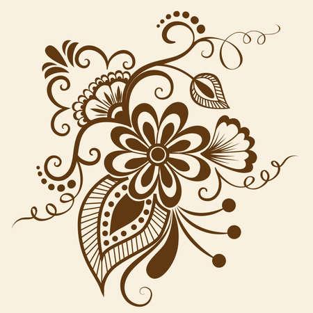 disegni cachemire: Vector astratto elementi floreali in stile indiano mehndi Vettoriali
