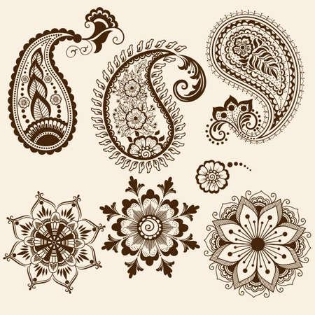 disegni cachemire: Vector astratta elementi floreali in stile indiano mehndi