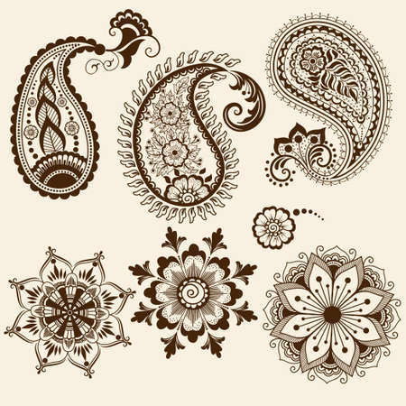 Vector abstract floral elements in indian mehndi style   Vectores