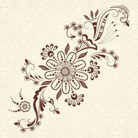 インドの mehndi スタイル ベクトル抽象的な花の要素