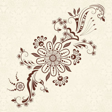 mehndi: Vector abstract floral elements in indian mehndi style   Illustration