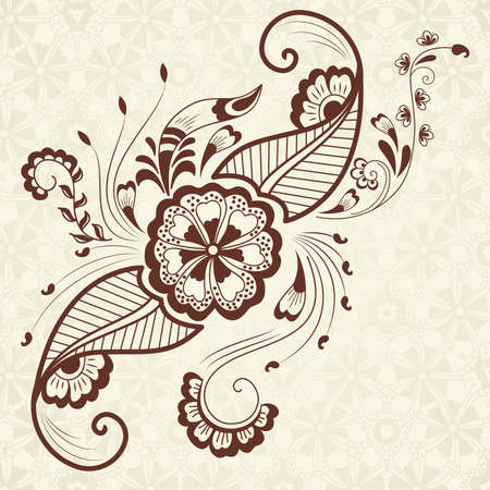 Vector abstract floral elements in indian mehndi style   Vector