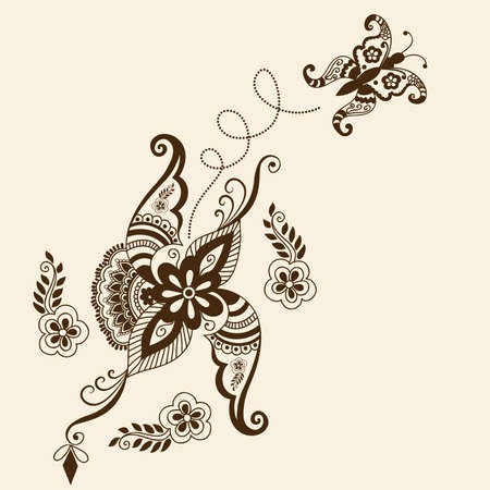 hindi: Vector abstract floral elements in indian mehndi style   Illustration