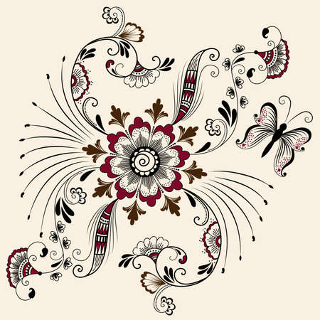 Vector abstract floral elements in indian mehndi style   Illustration