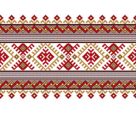 rushnik: Vector illustration of ukrainian folk seamless pattern ornament.