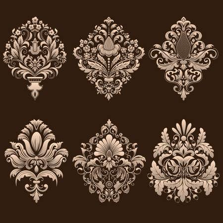 Vector set of damask ornamental elements. Illustration