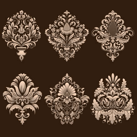 Vector set of damask ornamental elements. Ilustração
