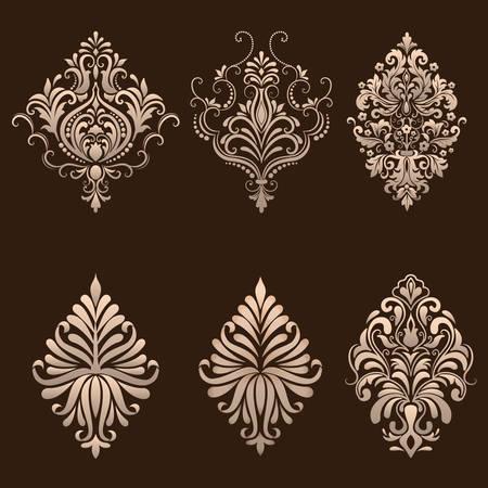 Vector set of damask ornamental elements.  イラスト・ベクター素材