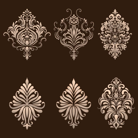 Vector set of damask ornamental elements. Çizim
