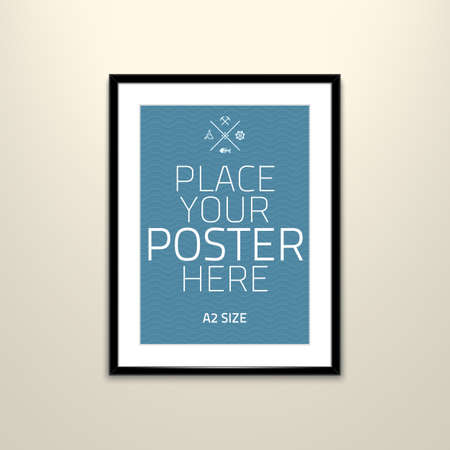 business scene: Vector template of frame with poster, placed in interior.