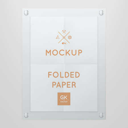 glas: Vector template of folded poster in glass frame, placed in interior. Illustration