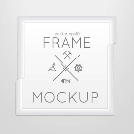 slash: Vector template of square slashed frame with poster, placed in interior.