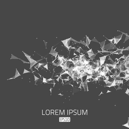 Abstract vector mesh background. Futuristic technology style. Flying debris.  Illustration