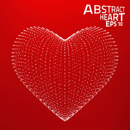 Abstract heart vector background. Lines, point, planes in 3d space. Vector