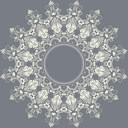 arabic motif: ornamental round lace with damask and arabesque elements. Mehndi style.