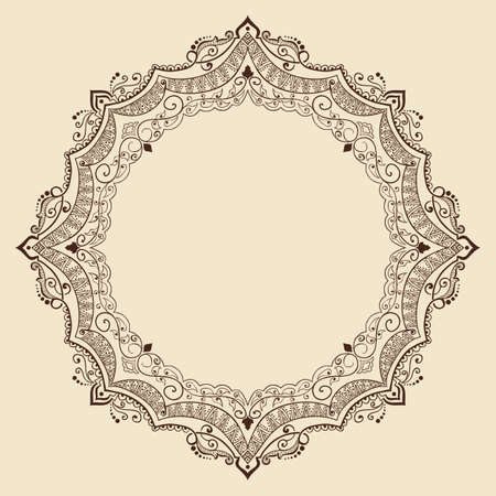ornamental round lace with damask and arabesque elements. Mehndi style.