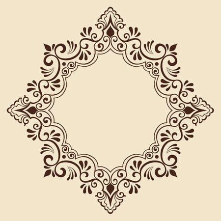 nouveau design: ornamental round lace with damask and arabesque elements. Mehndi style.