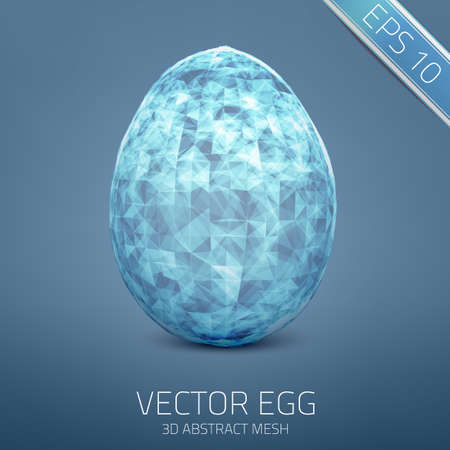 Abstract egg. 3D mesh object. Futuristic style card. Vector