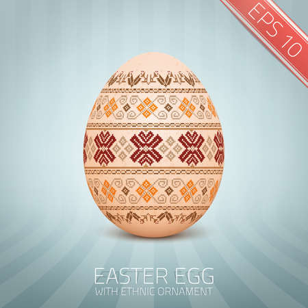 lappet: The Easter egg with an Ukrainian folk pattern ornament. Isolated realistic egg. Illustration