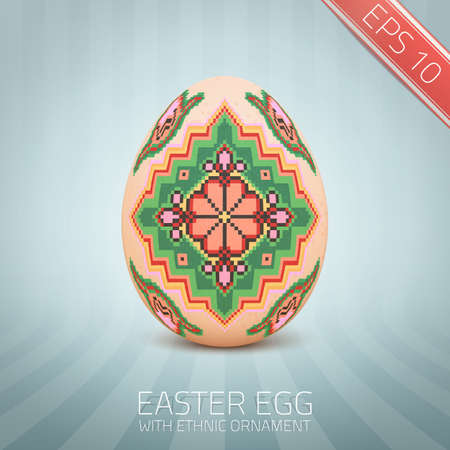 The Easter egg with an Ukrainian folk pattern ornament. Isolated realistic egg. Vector