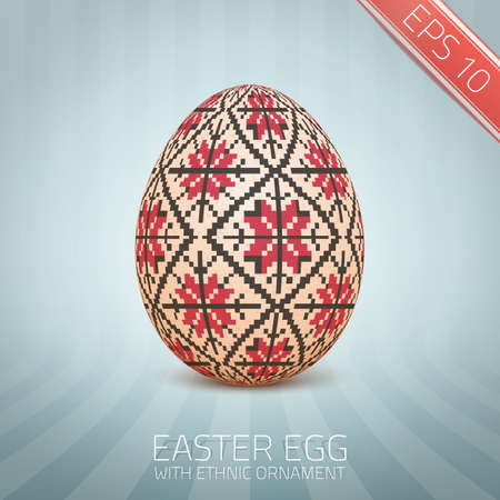 slovenian: The Easter egg with an Ukrainian folk pattern ornament. Isolated realistic egg. Illustration