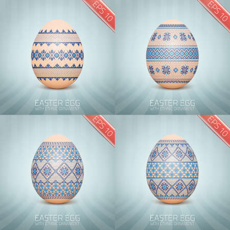 The Easter egg with an Ukrainian folk pattern ornament.