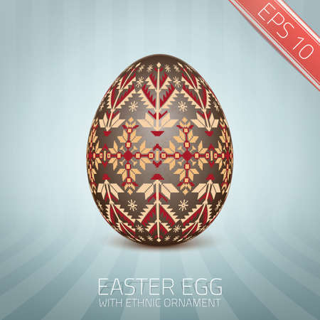 The Easter egg with an Ukrainian folk pattern ornament.
