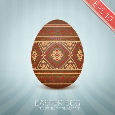 The Easter egg with an Ukrainian folk pattern ornament.  Vector