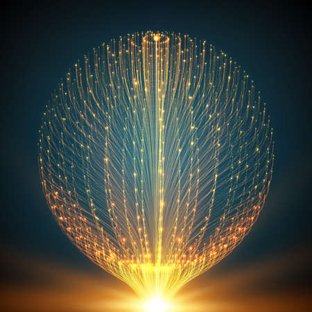intelligence: Abstract vector mesh background. Sphere of bioluminescent tentacles. Futuristic style card. Illustration