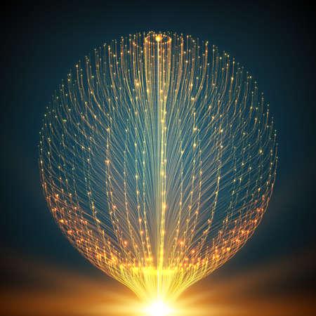 stile: Abstract vettore mesh. Sfera di tentacoli bioluminescenti. Carta stile futuristico.