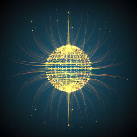 luminescence: Abstract vector mesh background. Sphere of bioluminescent tentacles. Futuristic style card. Illustration