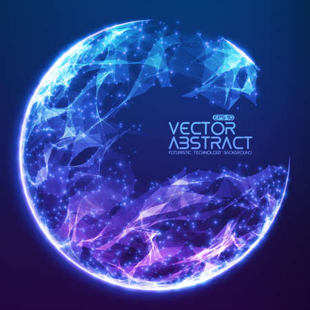 Abstract vector demolished sphere background. Futuristic technology style. Elegant background for business presentations. Destroyed sphere. Vettoriali
