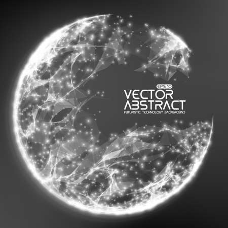 Abstract vector demolished sphere background. Futuristic technology style. Elegant background for business presentations. Destroyed sphere