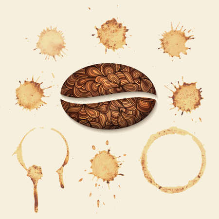 Vector coffee stains on the paper. Isolated stains on uniform background. Vector