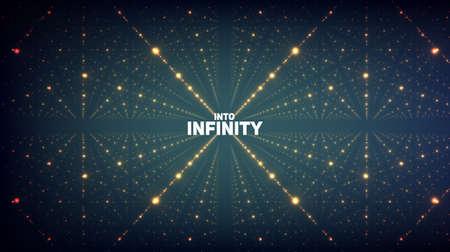 추상적 인 벡터 배경입니다. 깊이와 관점의 환상과 빛나는 별의 행렬.