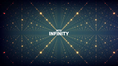 추상: 추상적 인 벡터 배경입니다. 깊이와 관점의 환상과 빛나는 별의 행렬.