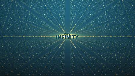 Abstracte vector achtergrond. Matrix van gloeiende sterren met een illusie van diepte en perspectief.