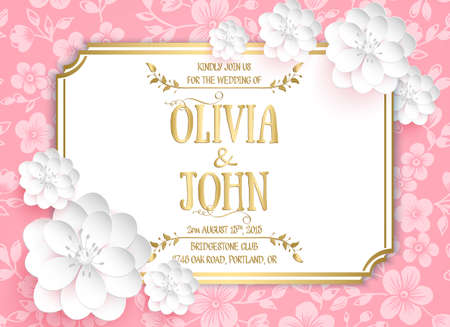 Bruiloft uitnodiging kaart. Vector uitnodigingskaart met sakura bloemen naadloze patroon achtergrond en elegant frame met tekst.