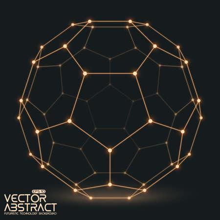 Abstract vector mesh bol gebouwd met aangesloten gloeiende punten op een donkere achtergrond. Futuristische technologie stijl. Elegante achtergrond voor zakelijke presentaties.