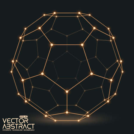 Abstract vector mesh sphere constructed with connected glowing points on dark background. Futuristic technology style. Elegant background for business presentations.