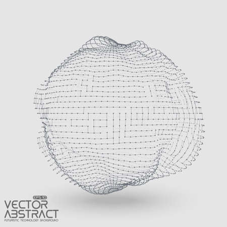 constructed: Abstract vector mesh distorted sphere constructed with connected points on light background. Futuristic technology style. Elegant background for business presentations. Illustration