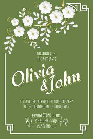 flor de sakura: Wedding invitation card. Vector invitation card with sakura flower seamless pattern background and elegant frame with text.