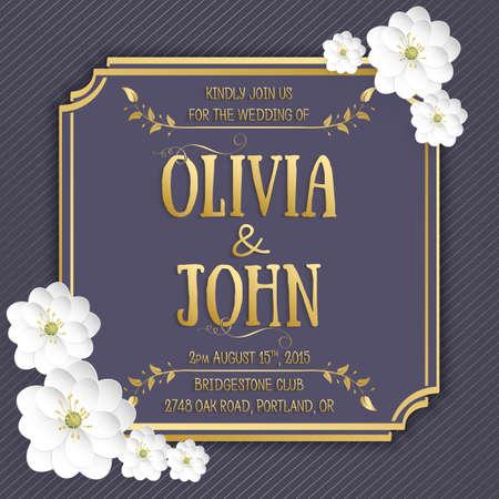 tarjeta de invitacion: Tarjeta de invitación de la boda. Tarjeta de la invitación del vector con la flor de sakura patrón sin fisuras de fondo y marco elegante con el texto.