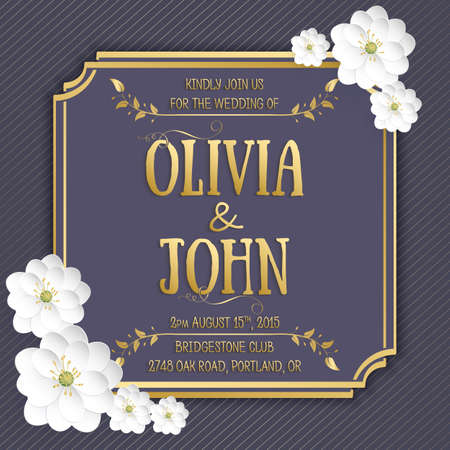 greetings card: Wedding invitation card. Vector invitation card with sakura flower seamless pattern background and elegant frame with text.