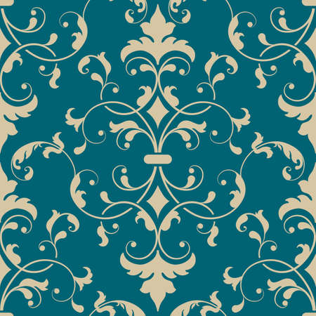 wallpaper wall: Vector damask seamless pattern element. Elegant luxury texture for wallpapers, backgrounds and page fill.